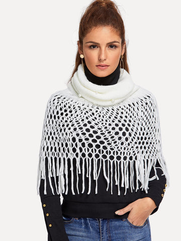 Faux Pearl Embellished Infinity Scarf (White)