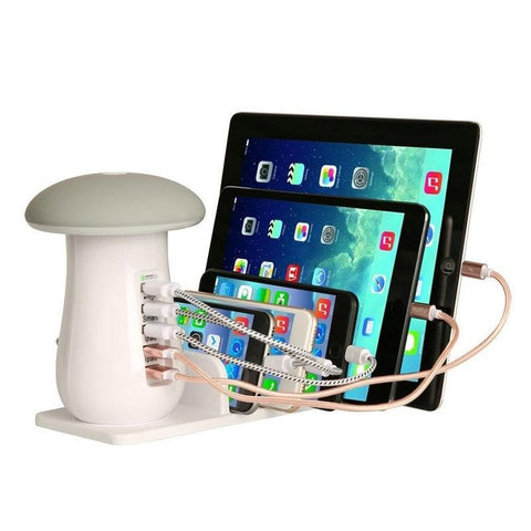 5 Ports 3.0 USB Mushroom Table Lamp Quick Charger