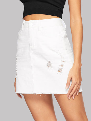 White Raw Hem Ripped Denim Skirt