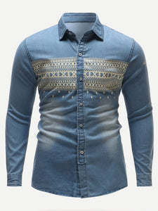 Tribal Single-Breasted Denim Long Sleeve Shirt - ISLAND63