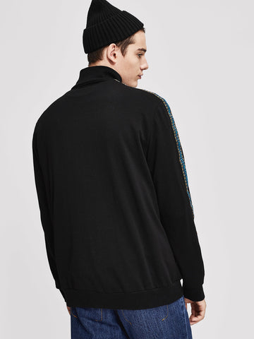 Men Black Zip Up Embroidered Tape Mock-Neck Jacket