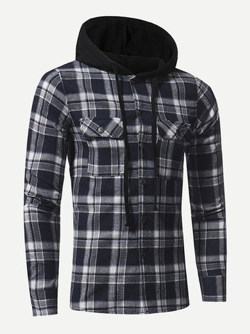 Men Pocket Front Hooded Plaid Jacket (Navy)