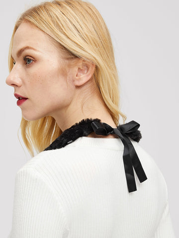 Faux Pearl Embellished Collar (Black)