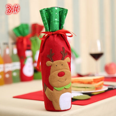 Christmas Santa Claus Snowman Reindeer Wine Bottle Bag Cover elk