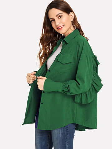 Frill Trim Solid Outerwear (Green)