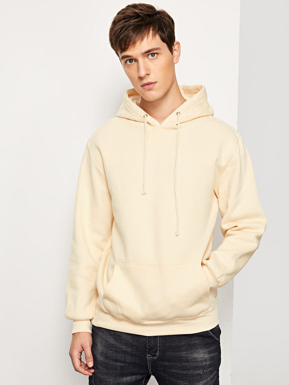 Men Solid Hooded Sweatshirt (Khaki) - ISLAND63