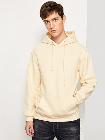 Men Solid Hooded Sweatshirt (Khaki)