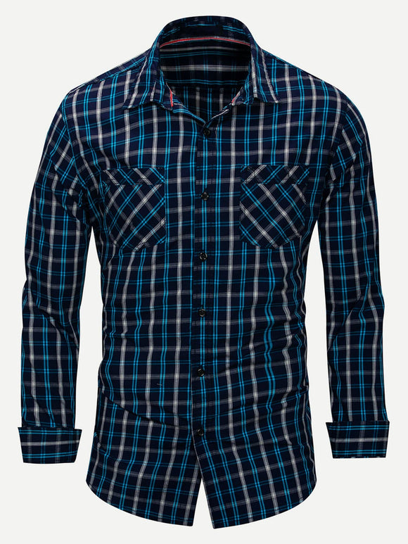 Men Plaid Collar Long Sleeve Shirt (Navy) - ISLAND63