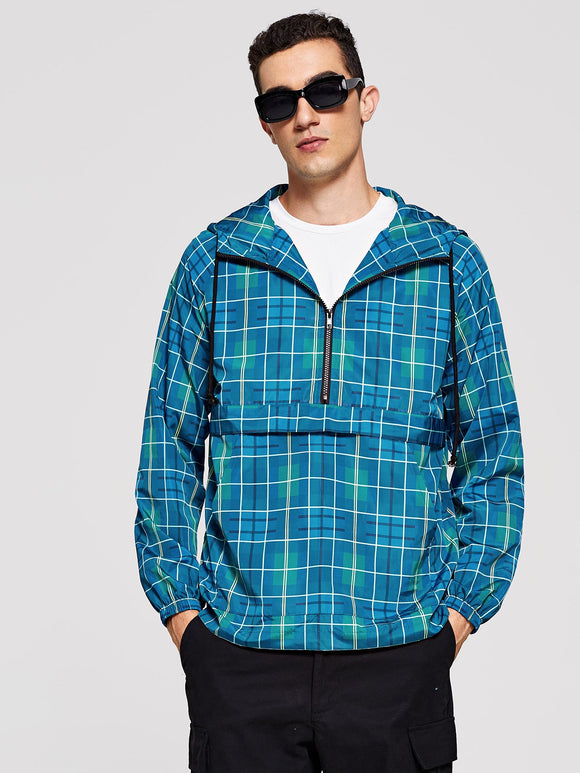 Men Plaid Hooded Anorak Windbreaker Jacket (Blue) - ISLAND63