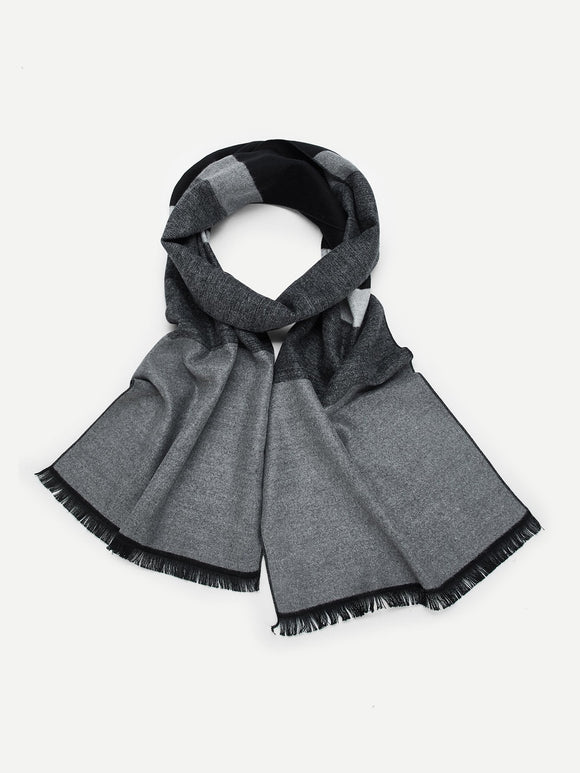 Men Frayed Trim Color-Block Scarf - ISLAND63