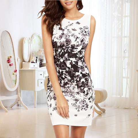 Summer Trend Casual Sleeveless Flower Bodycon Party Short Mini Dress