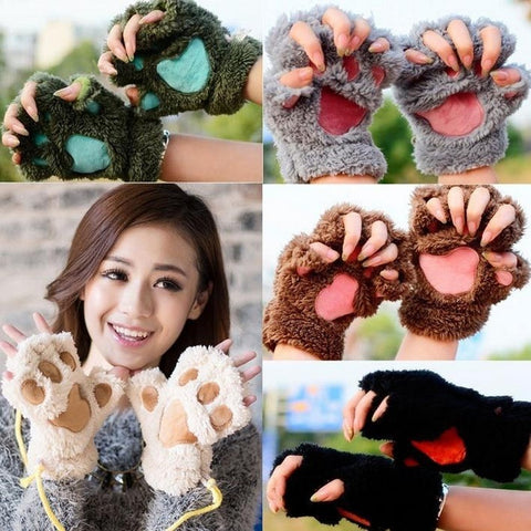Cute Bear Paw Cat Paw Furry Mitten Gloves