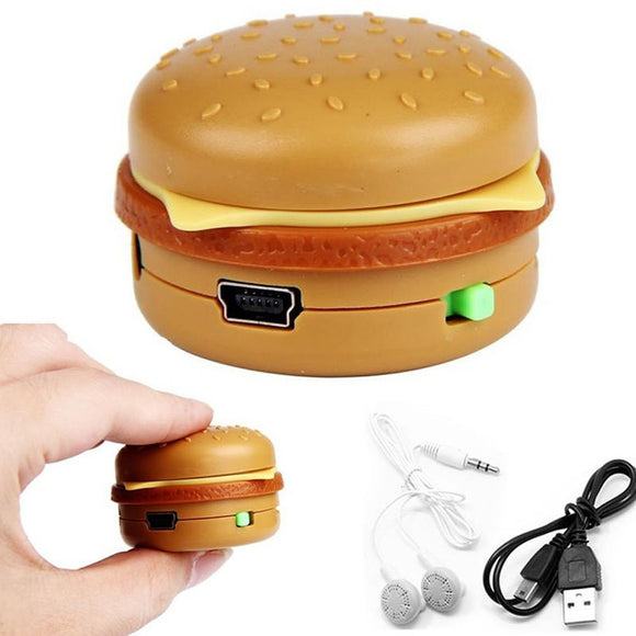 Hamburger USB Mini Music MP3 Player Support 32GB Micro SD TF Card With Earphone - ISLAND63