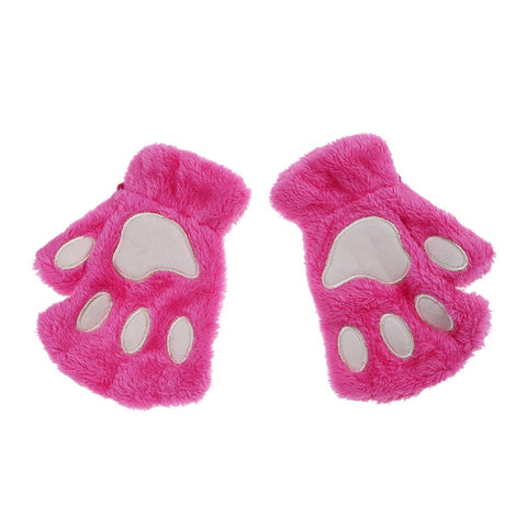 Cute Bear Paw Cat Paw Furry Mitten Gloves rose red