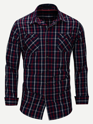 Men Plaid Collar Long Sleeve Shirt (Multicolor)