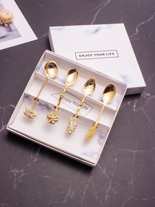 4pcs Plant Design Metallic Spoon - ISLAND63
