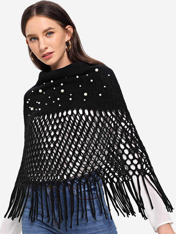 Faux Pearl Embellished Infinity Scarf (Black)