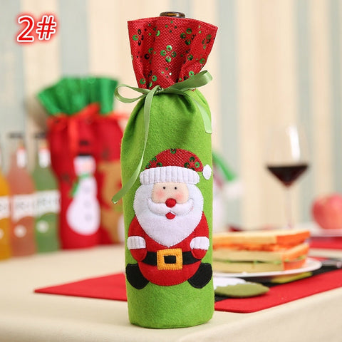 Christmas Santa Claus Snowman Reindeer Wine Bottle Bag Cover santa claus