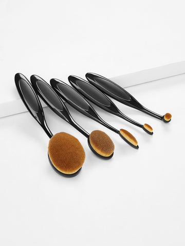 5PCS Black Oval Paddle Makeup Brush Set