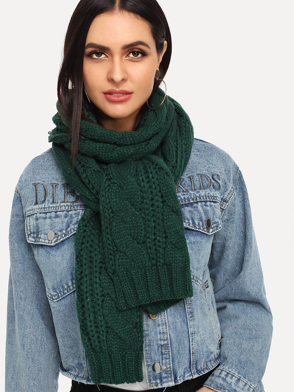 Cable Knit Scarf (Green) - ISLAND63