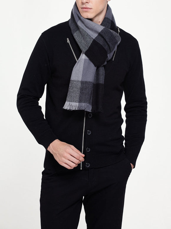 Men Frayed Trim Plaid Scarf (Black/Grey) - ISLAND63