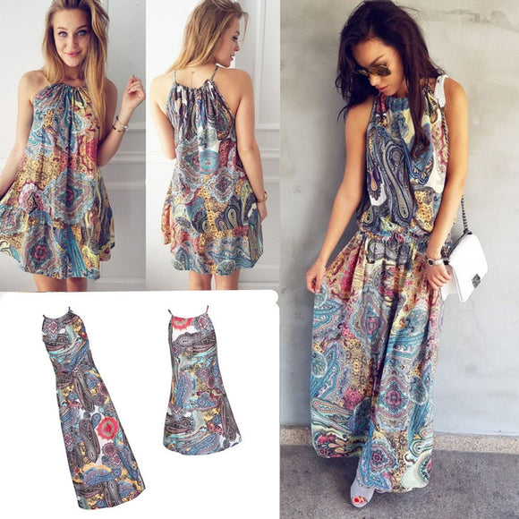 Vintage Boho Long/Short Maxi/Mini Evening Party Beach Floral Dress - ISLAND63