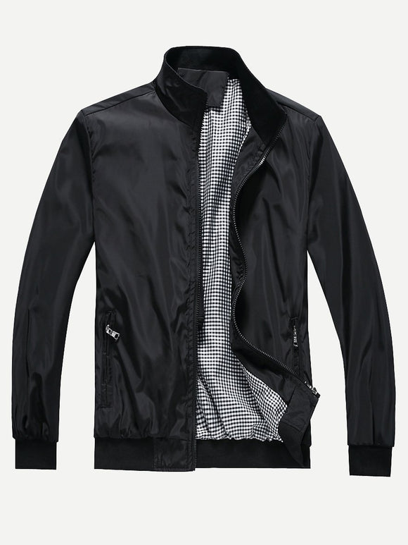Men Plain Jacket (Black) - ISLAND63