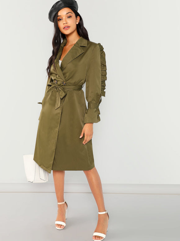 Ruffle Trim Belted Trench Coat - ISLAND63
