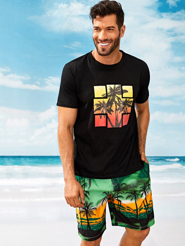 Geometric Coconut Trees T-shirt