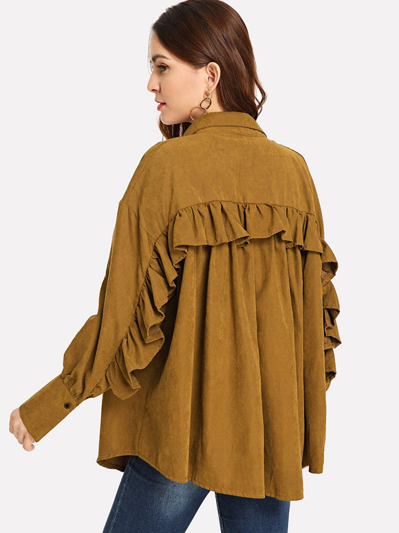 Frill Trim Solid Outerwear (Brown) - ISLAND63