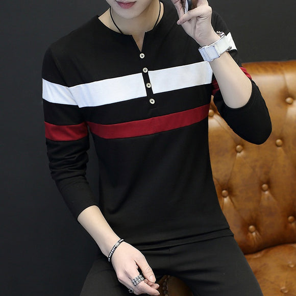 V-neck Korean Style Long Sleeve Shirt - ISLAND63