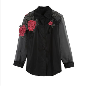 Spring Summer Fashion Rose Embroidery Trend Long-sleeved Mesh Mosaic Sunscreen White Thin Shirt - ISLAND63