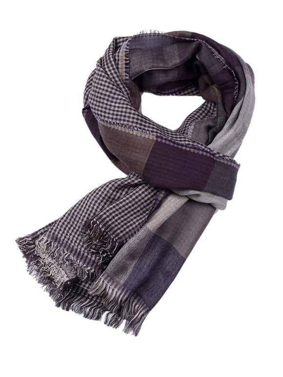 Men Fringe Hem Plaid Scarf - ISLAND63