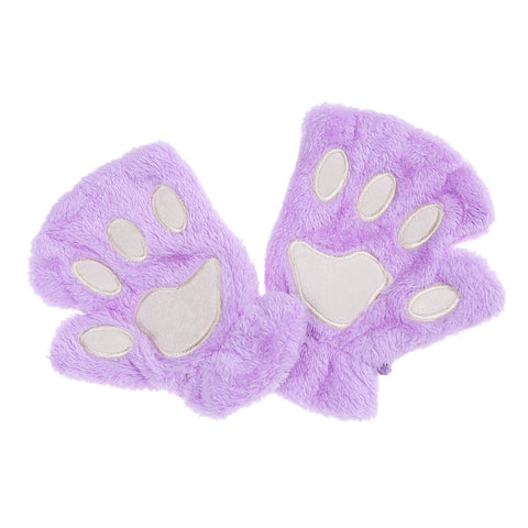 Cute Bear Paw Cat Paw Furry Mitten Gloves purple