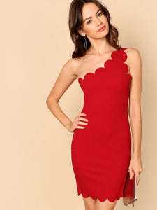 Asymmetrical Scallop Bodycon Dress (Red) - ISLAND63
