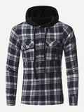 Men Pocket Front Hooded Plaid Jacket (Navy) - ISLAND63