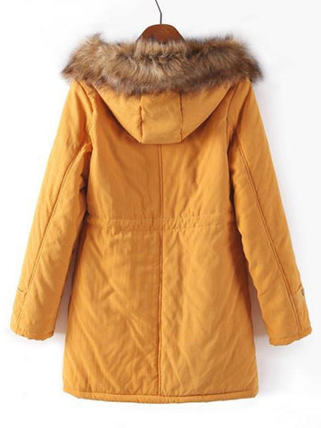 Faux Fur Drawstring Waist Parka Coat (Ginger) back