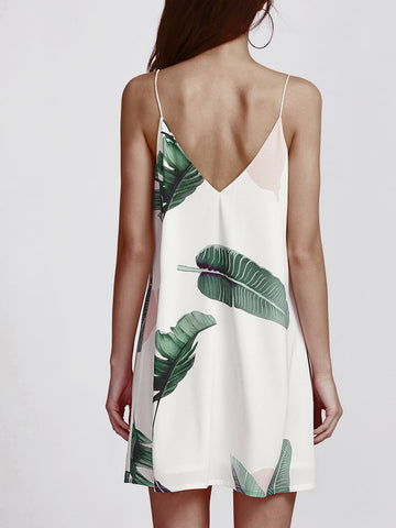 Palm Leaf V-Neck Cami Dress
