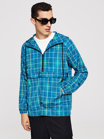 Men Plaid Hooded Anorak Windbreaker Jacket (Blue)