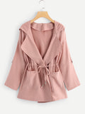 Solid Drawstring Waist Hooded Coat (Pink) - ISLAND63