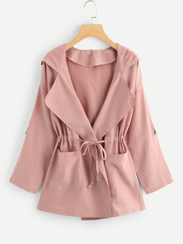 Solid Drawstring Waist Hooded Coat (Pink)