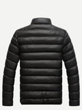 Men Stand Neck Solid Padded Coat (Black) - ISLAND63