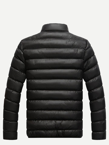 Men Stand Neck Solid Padded Coat (Black)