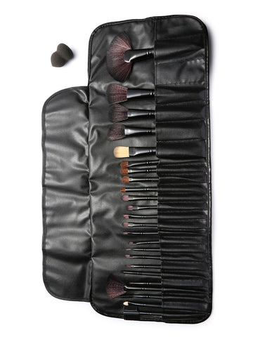 24pcs Black Pro-Makeup Brush Set with Leather Bag