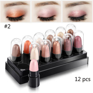 12 Pcs Waterproof Shimmer Eyeshadow Stick - ISLAND63