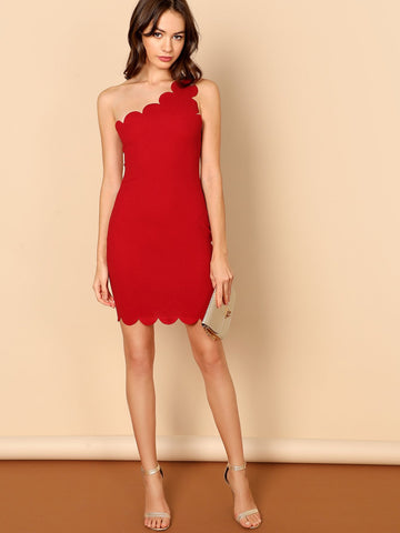 Asymmetrical Neck Scallop Trim Bodycon Pencil Dress (Red)