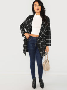 Pocket Front Grid Waterfall Coat (Black) - ISLAND63