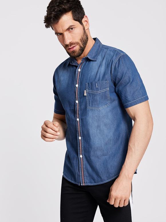 Blue Men Front Pocket Denim Shirt - ISLAND63
