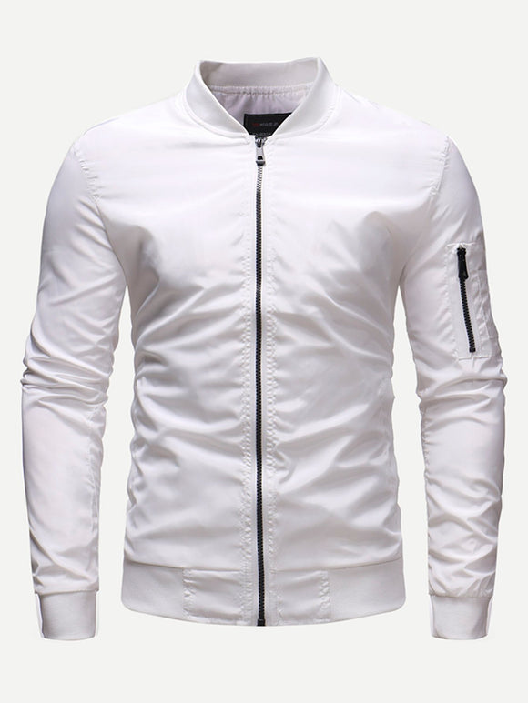Men Zip Plain Jacket (White) - ISLAND63