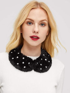 Faux Pearl Embellished Collar (Black) - ISLAND63